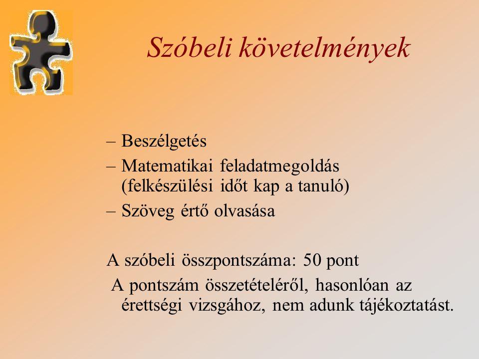 Szóbeli követelmények –Beszélgetés –Matematikai feladatmegoldás (felkészülési időt kap a tanuló) –Szöveg értő olvasása A szóbeli összpontszáma: 50 pon