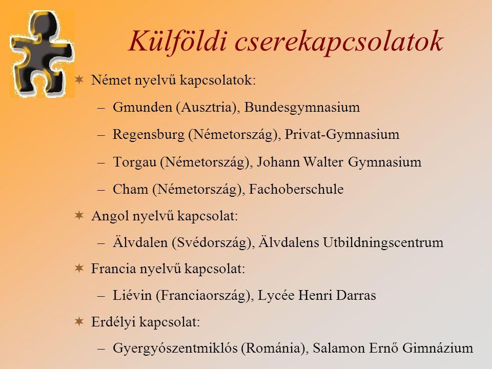Külföldi cserekapcsolatok  Német nyelvű kapcsolatok: –Gmunden (Ausztria), Bundesgymnasium –Regensburg (Németország), Privat-Gymnasium –Torgau (Németo