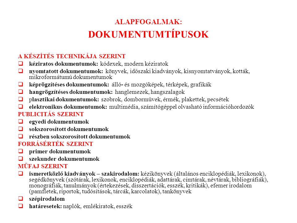 ALAPFOGALMAK: DOKUMENTUMTÍPUSOK A KÉSZÍTÉS TECHNIKÁJA SZERINT  kéziratos dokumentumok: kódexek, modern kéziratok  nyomtatott dokumentumok: könyvek,