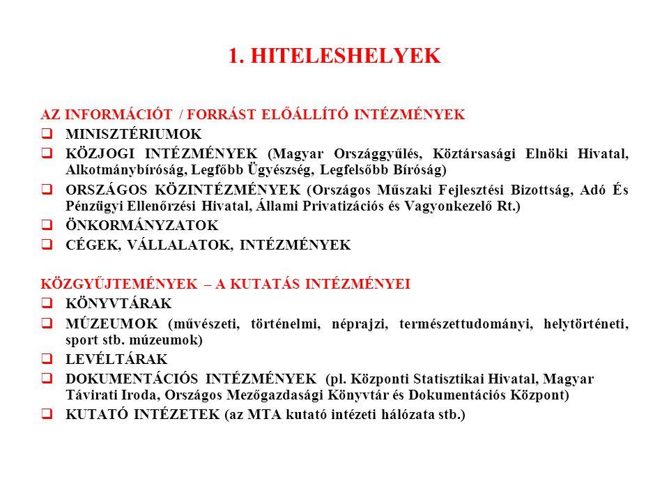 1. HITELESHELYEK AZ INFORMÁCIÓT / FORRÁST ELŐÁLLÍTÓ INTÉZMÉNYEK  MINISZTÉRIUMOK  KÖZJOGI INTÉZMÉNYEK (Magyar Országgyűlés, Köztársasági Elnöki Hivat