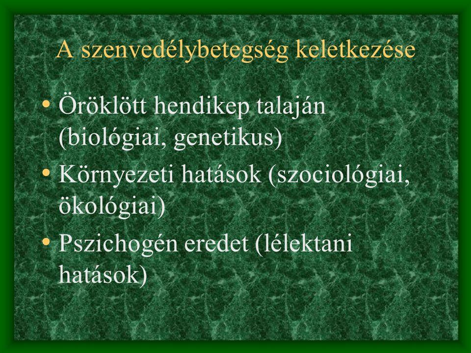 A szenvedélybetegség keletkezése • Öröklött hendikep talaján (biológiai, genetikus) • Környezeti hatások (szociológiai, ökológiai) • Pszichogén eredet (lélektani hatások)