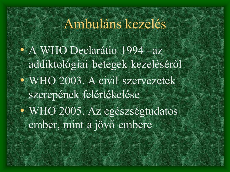 Ambuláns kezelés • A WHO Declarátio 1994 –az addiktológiai betegek kezeléséről • WHO 2003.