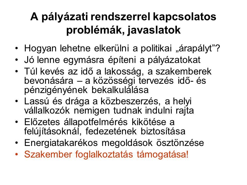 """A pályázati rendszerrel kapcsolatos problémák, javaslatok •Hogyan lehetne elkerülni a politikai """"árapályt ."""