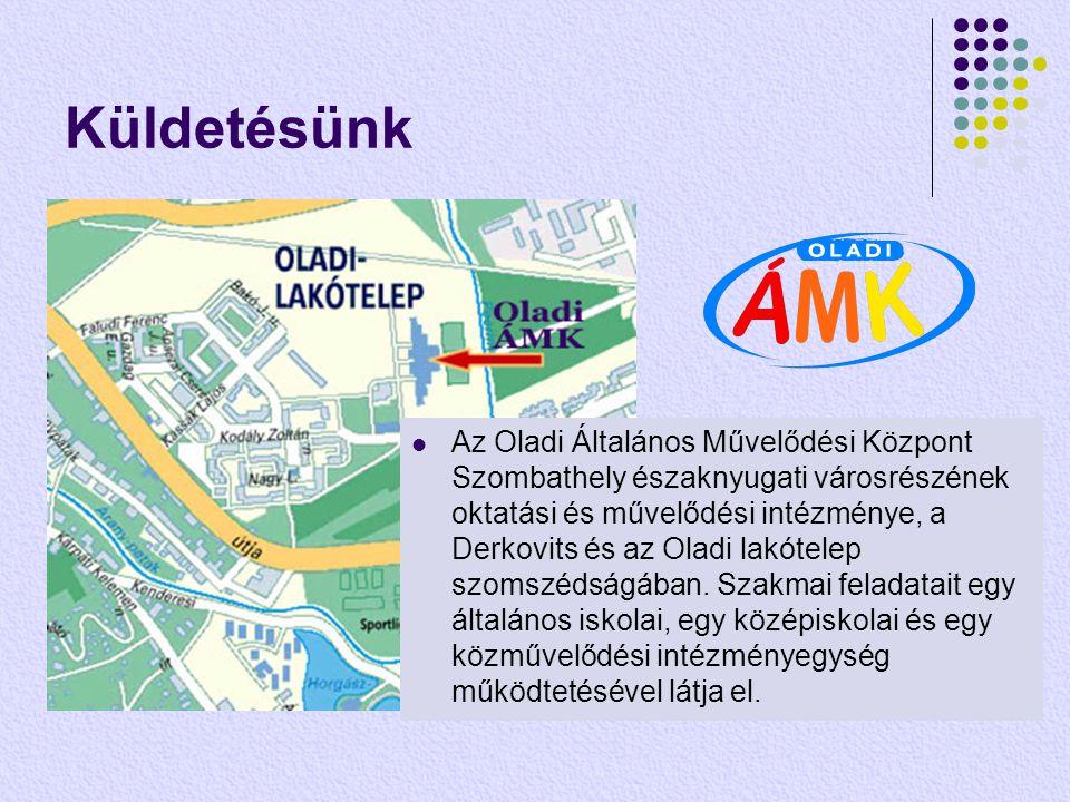 Küldetésünk  Az Oladi Általános Művelődési Központ Szombathely északnyugati városrészének oktatási és művelődési intézménye, a Derkovits és az Oladi lakótelep szomszédságában.