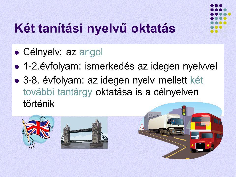 Két tanítási nyelvű oktatás  Célnyelv: az angol  1-2.évfolyam: ismerkedés az idegen nyelvvel  3-8.