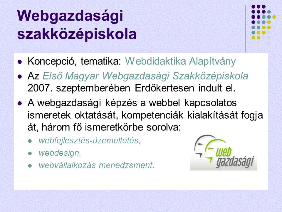Webgazdasági szakközépiskola  Koncepció, tematika: Webdidaktika Alapítvány  Az Első Magyar Webgazdasági Szakközépiskola 2007.