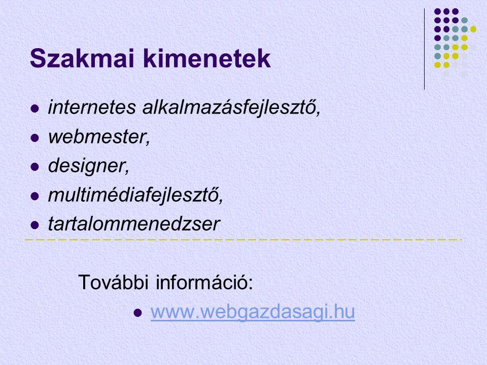 Szakmai kimenetek  internetes alkalmazásfejlesztő,  webmester,  designer,  multimédiafejlesztő,  tartalommenedzser További információ:  www.webg