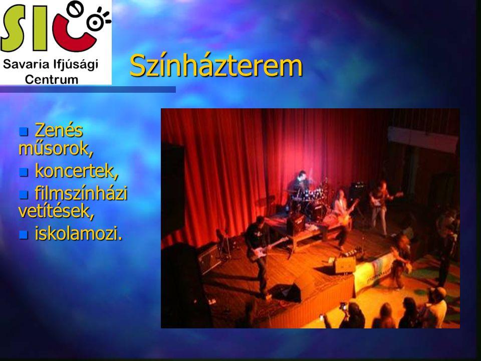 Színházterem n Zenés műsorok, n koncertek, n filmszínházi vetítések, n iskolamozi.