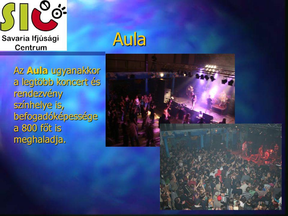 Aula Az Aula ugyanakkor a legtöbb koncert és rendezvény színhelye is, befogadóképessége a 800 főt is meghaladja.