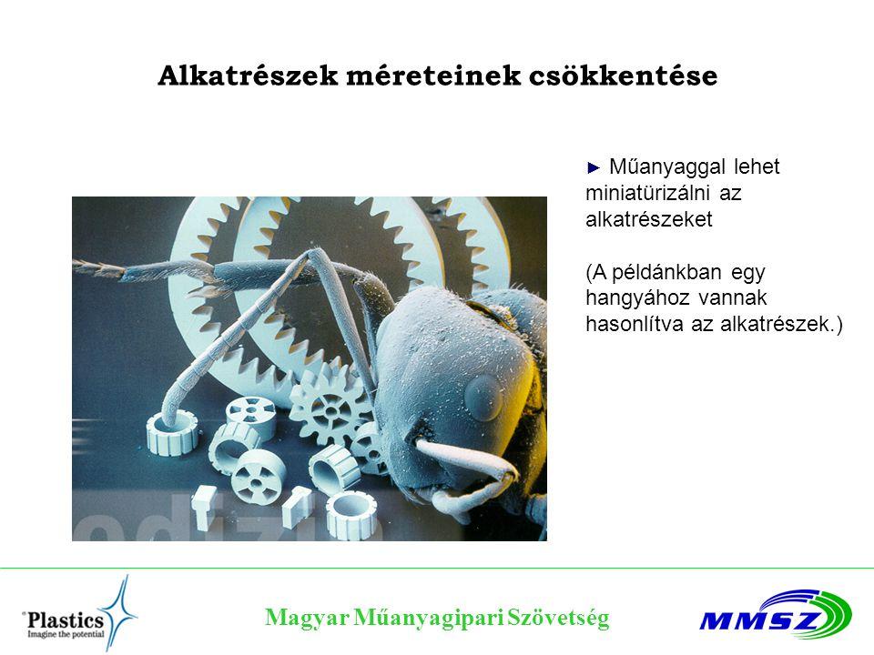 Magyar Műanyagipari Szövetség Alkatrészek méreteinek csökkentése ► Műanyaggal lehet miniatürizálni az alkatrészeket (A példánkban egy hangyához vannak