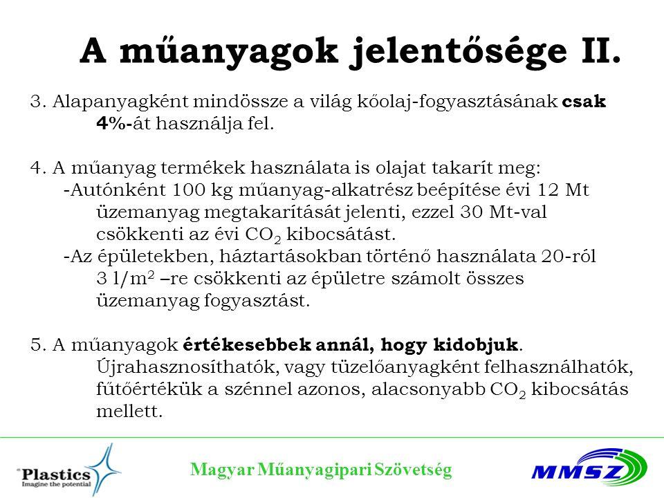 Magyar Műanyagipari Szövetség Műanyagok és acélok 50 100 150 200 250 Mrd liter Acél Műanyag > acél termelés Műanyag ► 1989: Műanyag termelés volumene megelőzi az acélt ► 2004: Világ termelése Műanyag*: 224 millió t = 224 mrd liter Acél**: 1,060 millió t = 133 mrd liter * 1 kg műanyag = 1 liter; ** 8 kg acél= 1 liter Forrás: PlasticsEurope, WG Market Research & Statistics