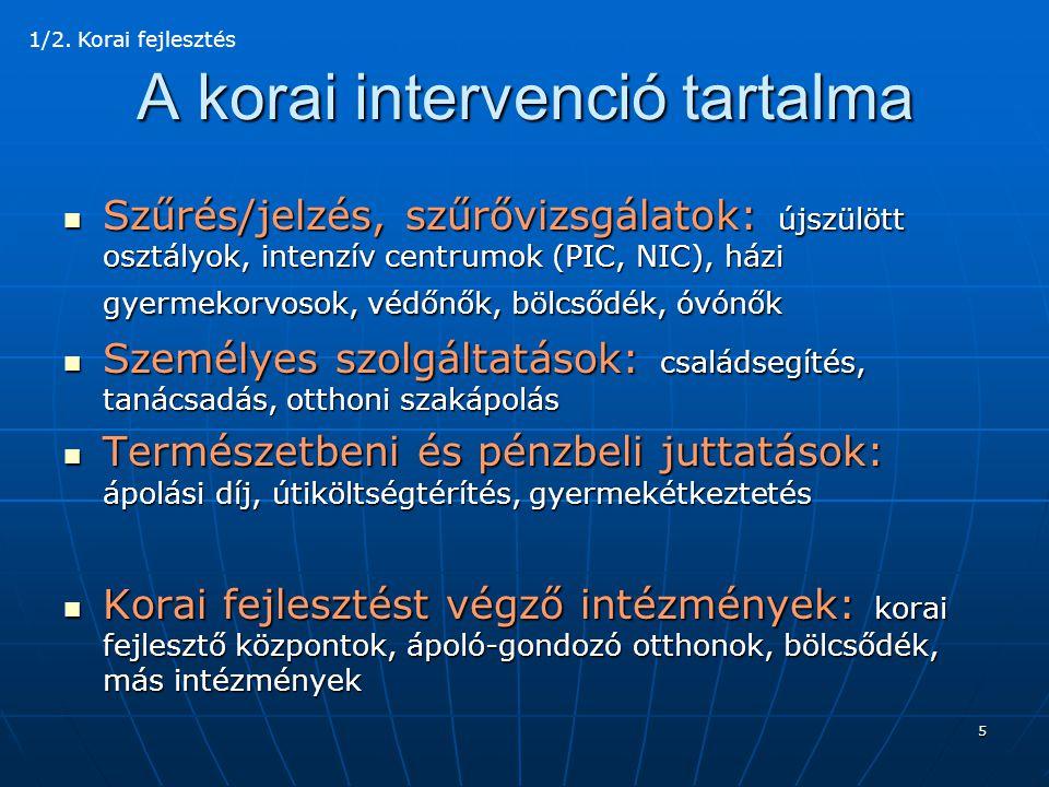 6 Korai fejlesztés  Jogosultság: diagnózis alapján  Szakemberek: orvos, terapeuta, gyógypedagógus, pszichológus  Fejlesztések és terápiák: egyéni, csoportos 1/3.