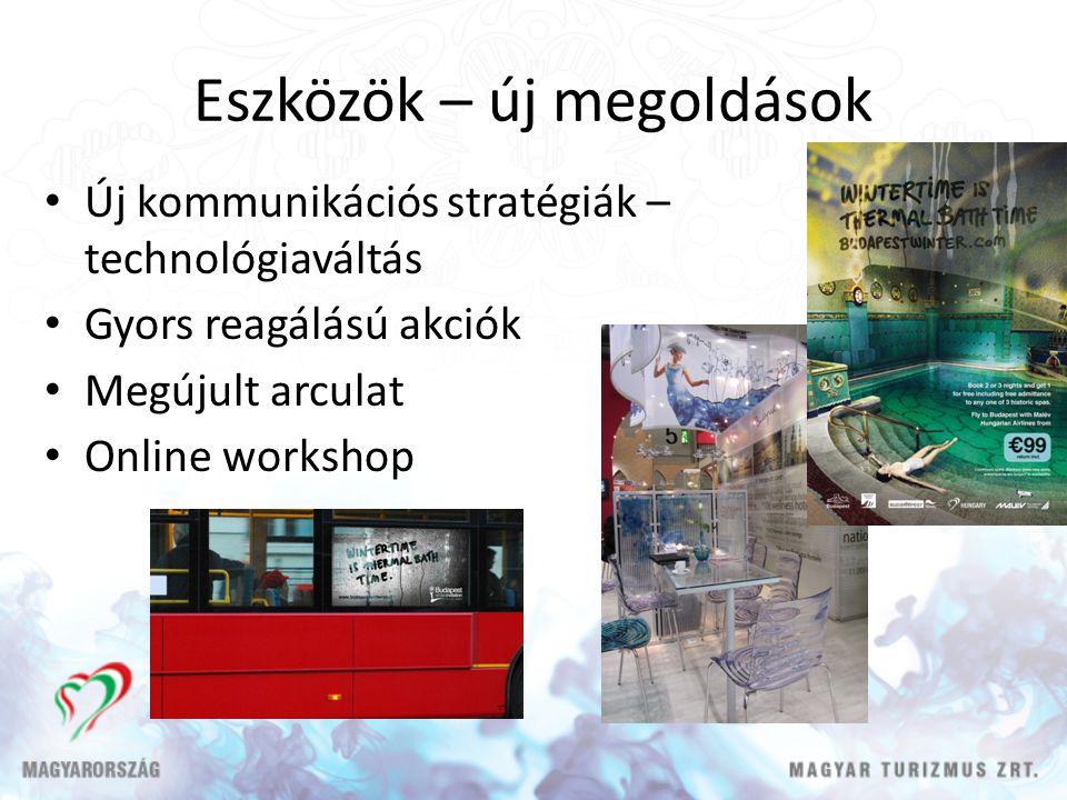 Eszközök – új megoldások • Új kommunikációs stratégiák – technológiaváltás • Gyors reagálású akciók • Megújult arculat • Online workshop