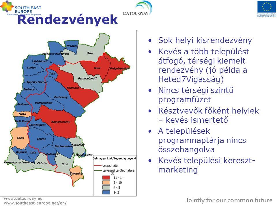 Rendezvények •Sok helyi kisrendezvény •Kevés a több települést átfogó, térségi kiemelt rendezvény (jó példa a Heted7Vigasság) •Nincs térségi szintű pr