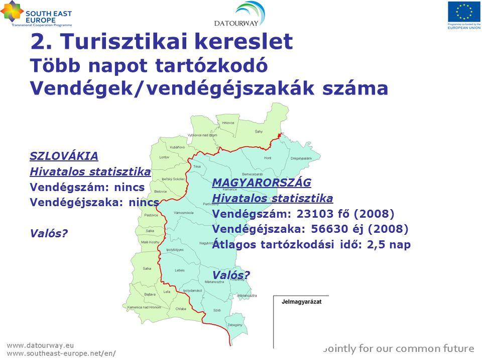 2. Turisztikai kereslet Több napot tartózkodó Vendégek/vendégéjszakák száma SZLOVÁKIA Hivatalos statisztika Vendégszám: nincs Vendégéjszaka: nincs Val