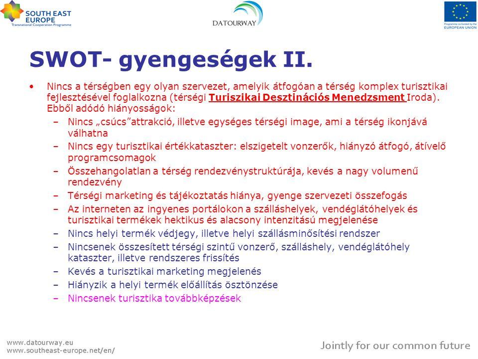 SWOT- gyengeségek II. •Nincs a térségben egy olyan szervezet, amelyik átfogóan a térség komplex turisztikai fejlesztésével foglalkozna (térségi Turisz