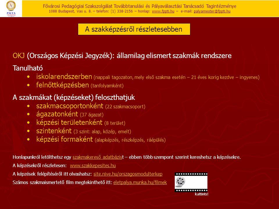 OKJ (Országos Képzési Jegyzék): államilag elismert szakmák rendszere Tanulható • iskolarendszerben (nappali tagozaton, mely első szakma esetén – 21 év