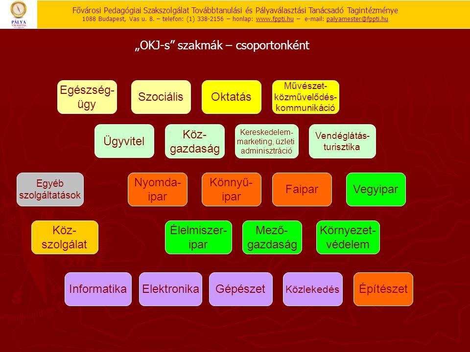"""""""OKJ-s"""" szakmák – csoportonként Egészség- ügy SzociálisOktatás Művészet- közművelődés- kommunikáció GépészetElektronika Nyomda- ipar Élelmiszer- ipar"""