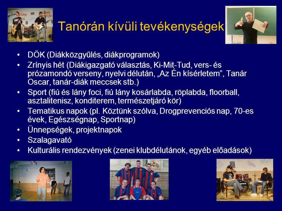 Tanórán kívüli tevékenységek •DÖK (Diákközgyűlés, diákprogramok) •Zrínyis hét (Diákigazgató választás, Ki-Mit-Tud, vers- és prózamondó verseny, nyelvi