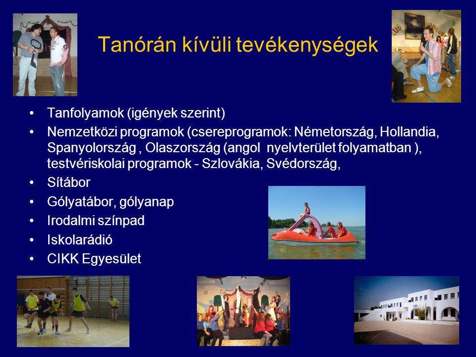 Tanórán kívüli tevékenységek •Tanfolyamok (igények szerint) •Nemzetközi programok (csereprogramok: Németország, Hollandia, Spanyolország, Olaszország