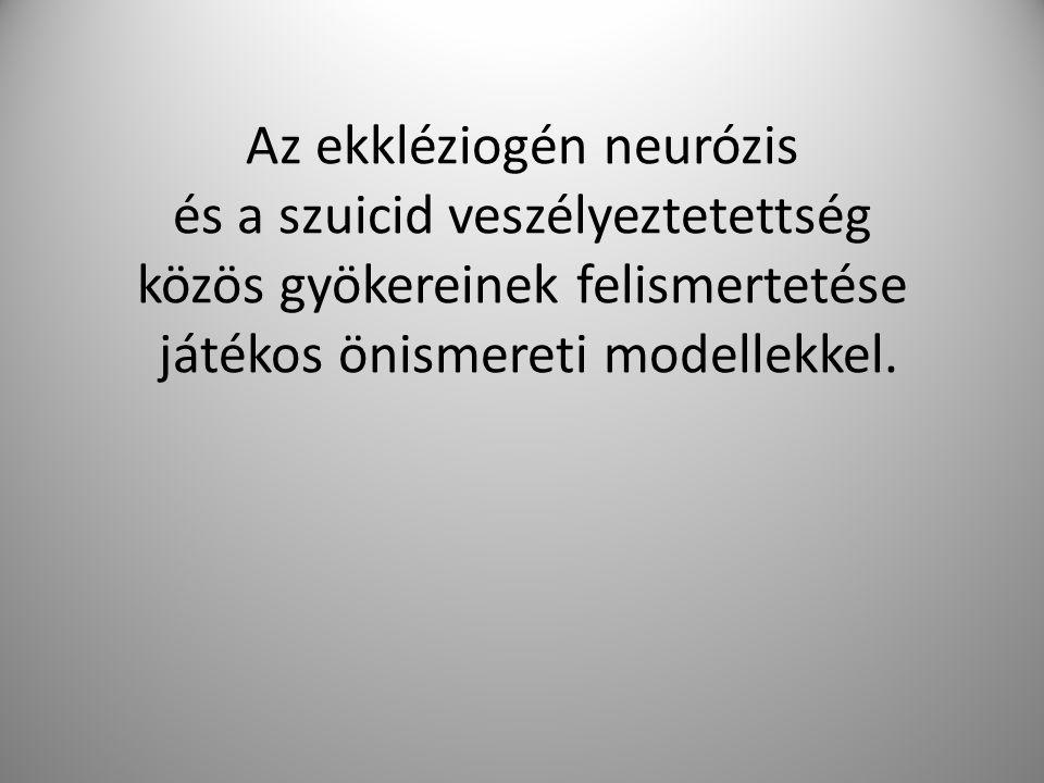 Az ekkléziogén neurózis és a szuicid veszélyeztetettség közös gyökereinek felismertetése játékos önismereti modellekkel.
