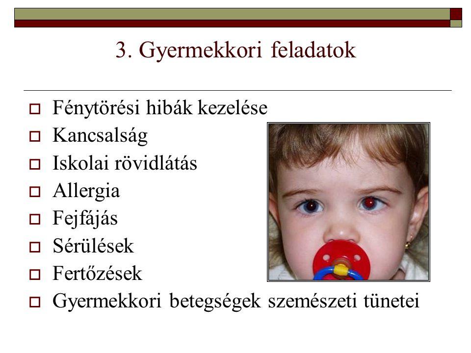 3. Gyermekkori feladatok  Fénytörési hibák kezelése  Kancsalság  Iskolai rövidlátás  Allergia  Fejfájás  Sérülések  Fertőzések  Gyermekkori be