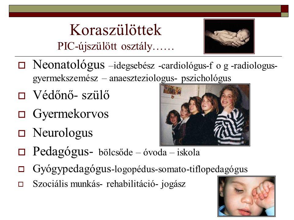 Koraszülöttek PIC-újszülött osztály……  Neonatológus –idegsebész -cardiológus-f o g -radiologus- gyermekszemész – anaeszteziologus- pszichológus  Véd