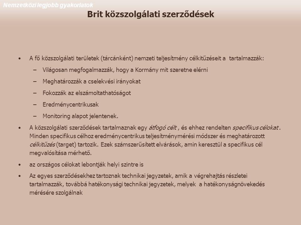 Brit közszolgálati szerződések •A fő közszolgálati területek (tárcánként) nemzeti teljesítmény célkitűzéseit a tartalmazzák: –Világosan megfogalmazzák, hogy a Kormány mit szeretne elérni –Meghatározzák a cselekvési irányokat –Fokozzák az elszámoltathatóságot –Eredménycentrikusak –Monitoring alapot jelentenek.