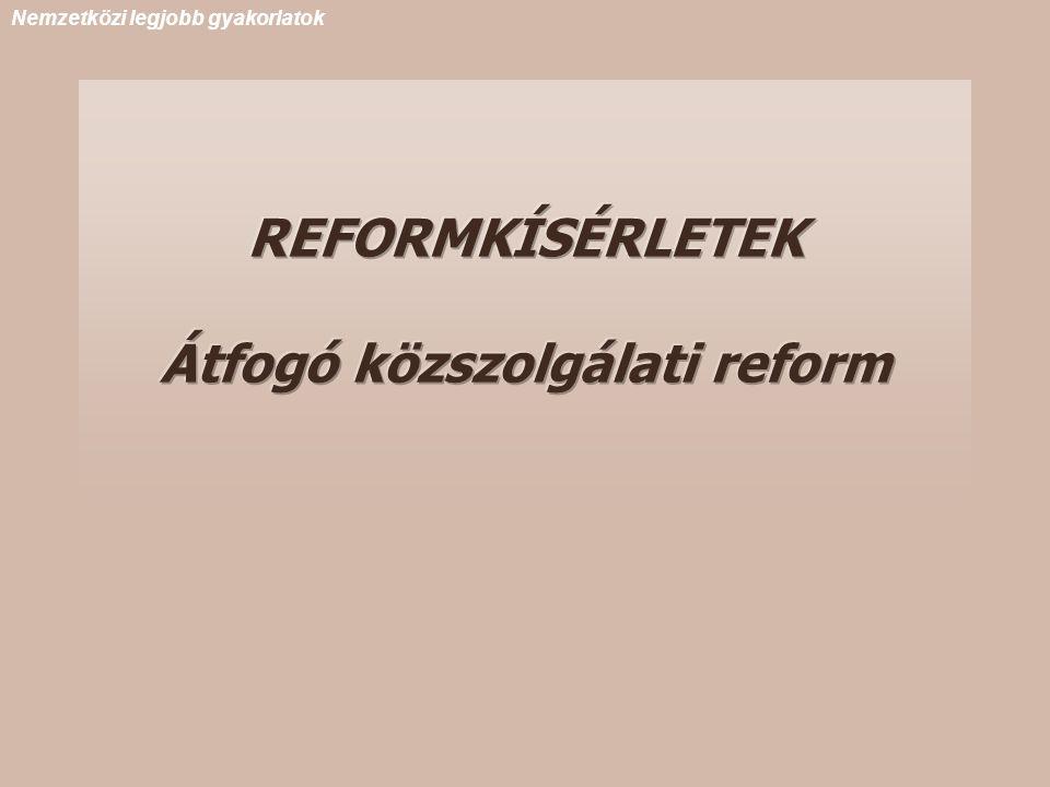 REFORMKÍSÉRLETEK Átfogó közszolgálati reform Nemzetközi legjobb gyakorlatok