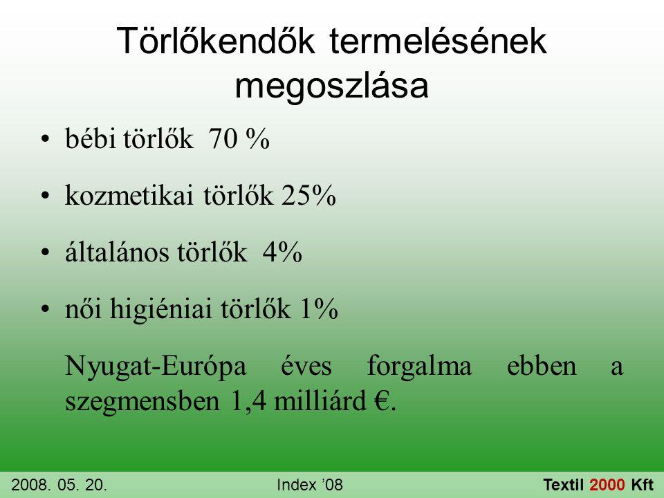 Törlőkendők termelésének megoszlása •bébi törlők 70 % •kozmetikai törlők 25% •általános törlők 4% •női higiéniai törlők 1% Nyugat-Európa éves forgalma