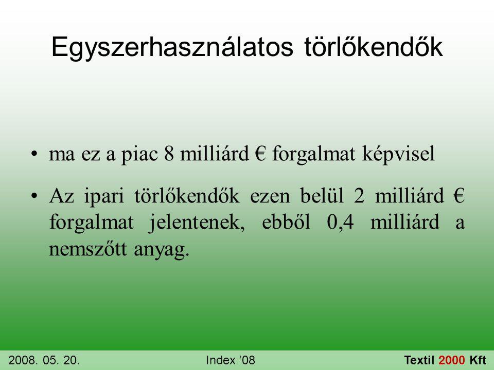 Egyszerhasználatos törlőkendők •ma ez a piac 8 milliárd € forgalmat képvisel •Az ipari törlőkendők ezen belül 2 milliárd € forgalmat jelentenek, ebből