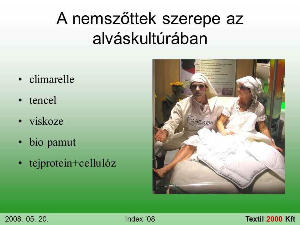 A nemszőttek szerepe az alváskultúrában •climarelle •tencel •viskoze •bio pamut •tejprotein+cellulóz 2008. 05. 20.Index '08Textil 2000 Kft