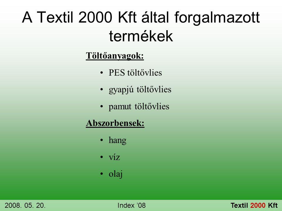 Töltőanyagok: •PES töltővlies •gyapjú töltővlies •pamut töltővlies Abszorbensek: •hang •víz •olaj A Textil 2000 Kft által forgalmazott termékek 2008.