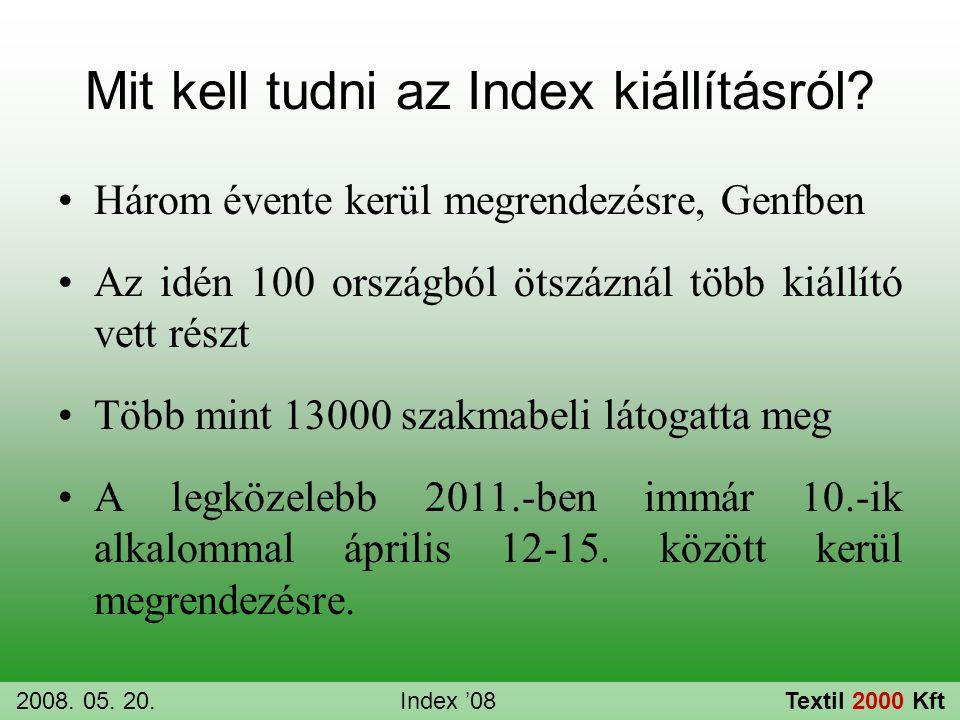 Mit kell tudni az Index kiállításról? •Három évente kerül megrendezésre, Genfben •Az idén 100 országból ötszáznál több kiállító vett részt •Több mint