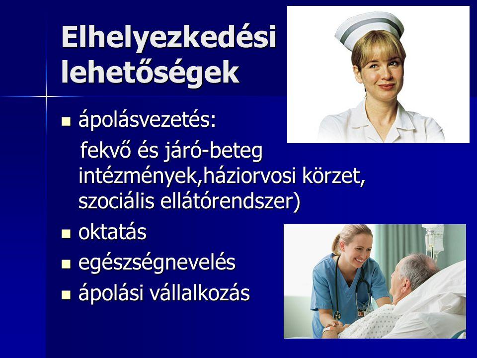 Elhelyezkedési lehetőségek  ápolásvezetés: fekvő és járó-beteg intézmények,háziorvosi körzet, szociális ellátórendszer) fekvő és járó-beteg intézmények,háziorvosi körzet, szociális ellátórendszer)  oktatás  egészségnevelés  ápolási vállalkozás