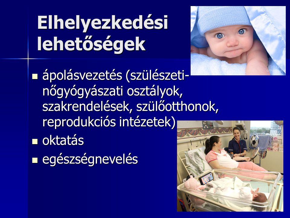 Elhelyezkedési lehetőségek  ápolásvezetés (szülészeti- nőgyógyászati osztályok, szakrendelések, szülőotthonok, reprodukciós intézetek)  oktatás  egészségnevelés