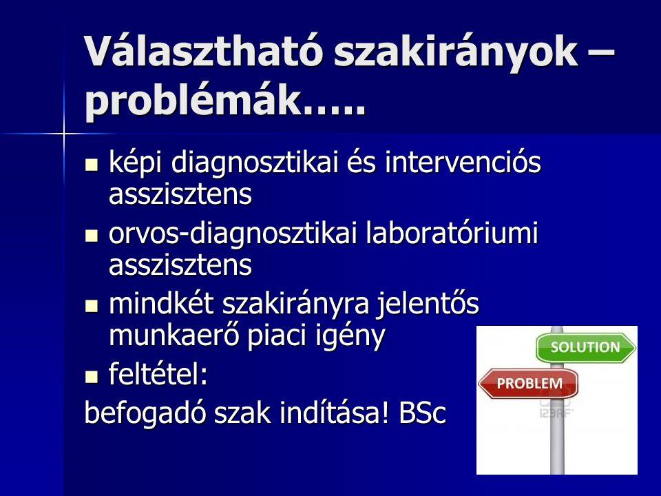 Választható szakirányok – problémák…..