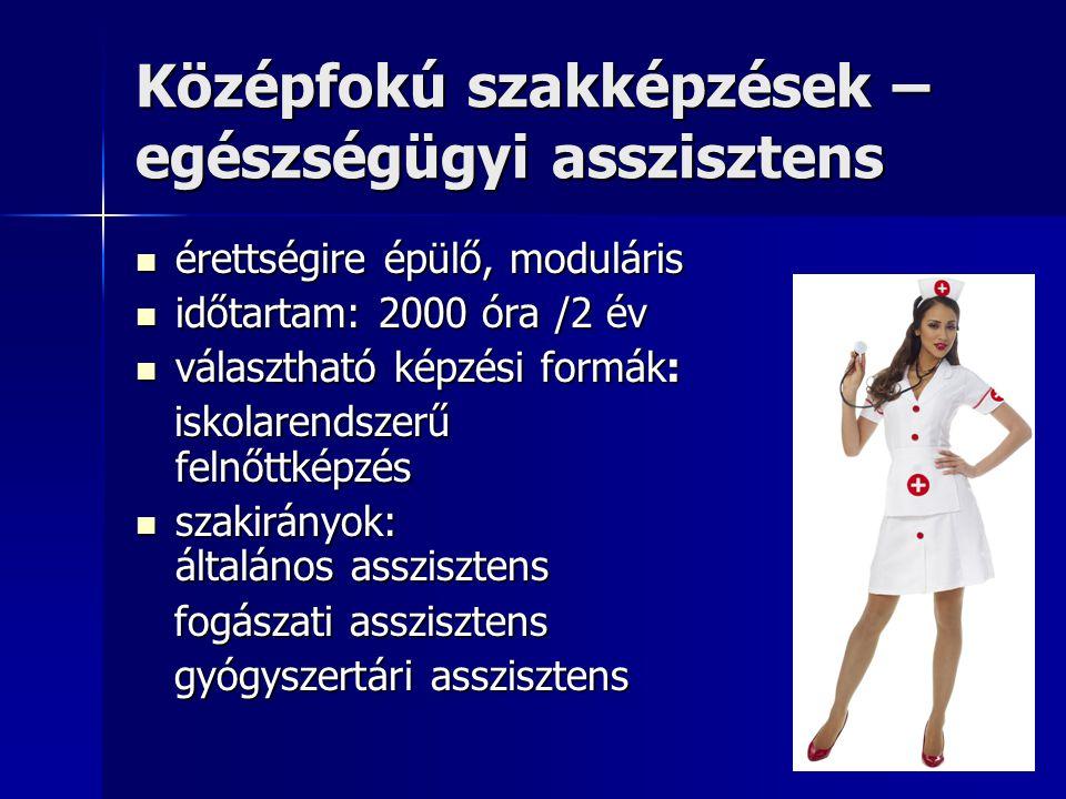 Középfokú szakképzések – egészségügyi asszisztens  érettségire épülő, moduláris  időtartam: 2000 óra /2 év  választható képzési formák: iskolarendszerű felnőttképzés iskolarendszerű felnőttképzés  szakirányok: általános asszisztens fogászati asszisztens fogászati asszisztens gyógyszertári asszisztens gyógyszertári asszisztens