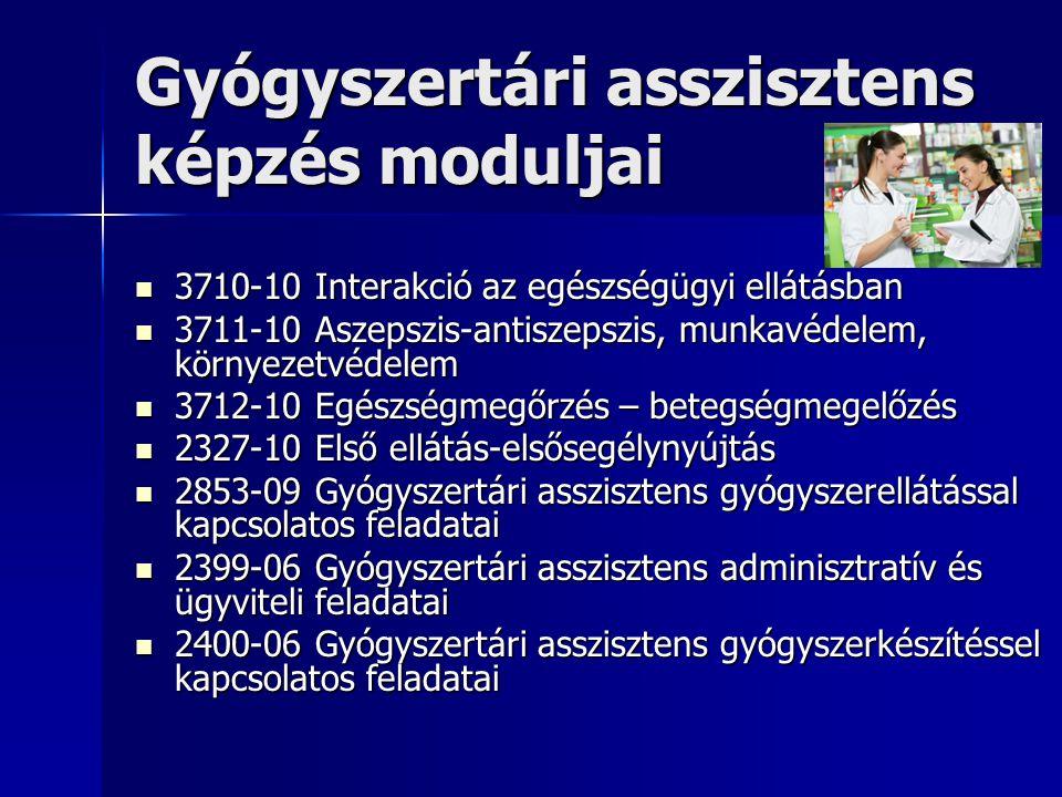 Gyógyszertári asszisztens képzés moduljai  3710-10 Interakció az egészségügyi ellátásban  3711-10 Aszepszis-antiszepszis, munkavédelem, környezetvédelem  3712-10 Egészségmegőrzés – betegségmegelőzés  2327-10 Első ellátás-elsősegélynyújtás  2853-09 Gyógyszertári asszisztens gyógyszerellátással kapcsolatos feladatai  2399-06 Gyógyszertári asszisztens adminisztratív és ügyviteli feladatai  2400-06 Gyógyszertári asszisztens gyógyszerkészítéssel kapcsolatos feladatai