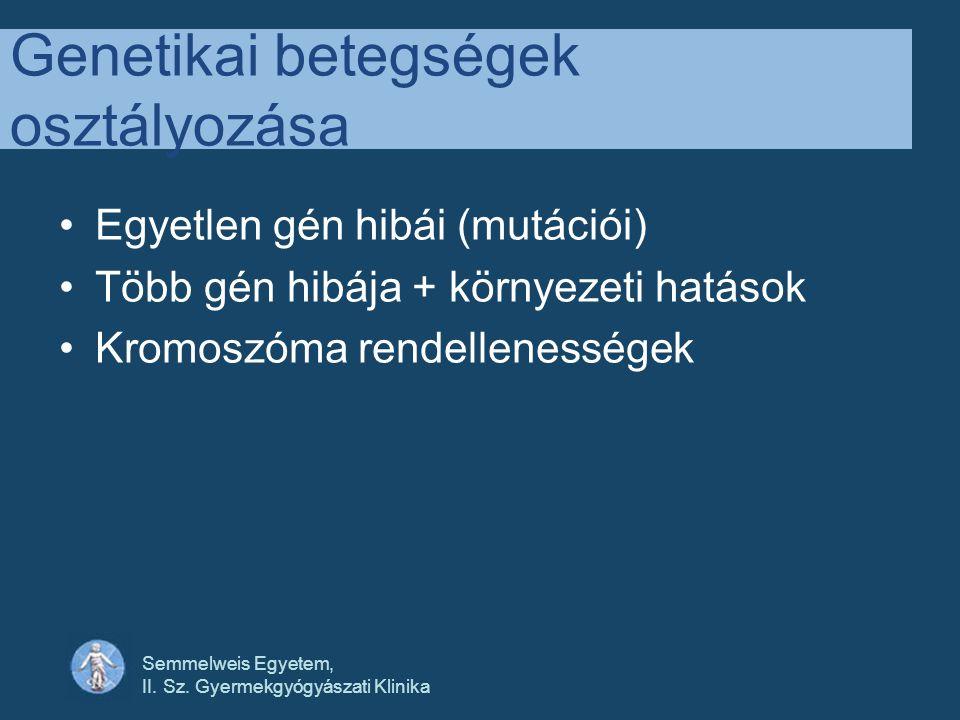 Semmelweis Egyetem, II. Sz. Gyermekgyógyászati Klinika Genetikai betegségek osztályozása •Egyetlen gén hibái (mutációi) •Több gén hibája + környezeti