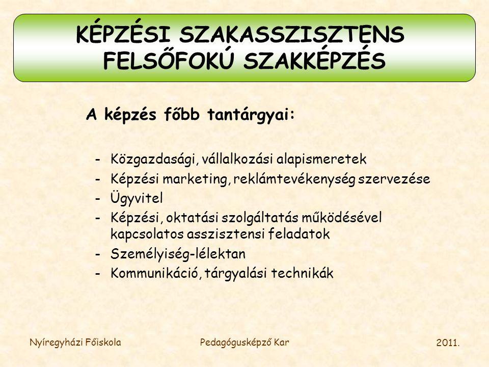 2011. Nyíregyházi FőiskolaPedagógusképző Kar A képzés főbb tantárgyai: -Közgazdasági, vállalkozási alapismeretek -Képzési marketing, reklámtevékenység