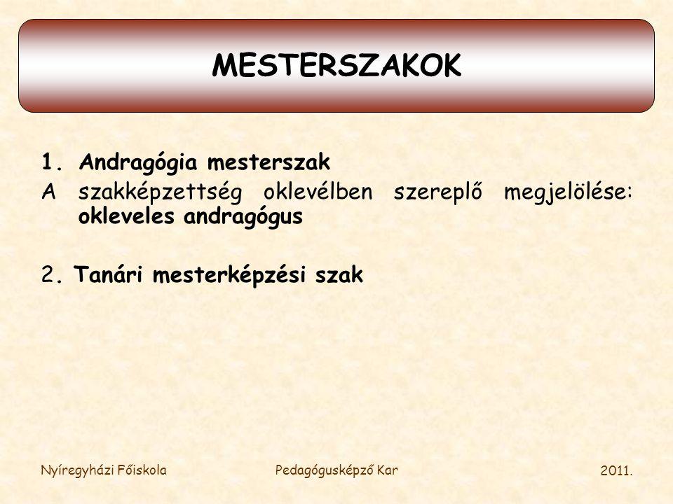 2011. MESTERSZAKOK 1.Andragógia mesterszak A szakképzettség oklevélben szereplő megjelölése: okleveles andragógus 2. Tanári mesterképzési szak Nyíregy