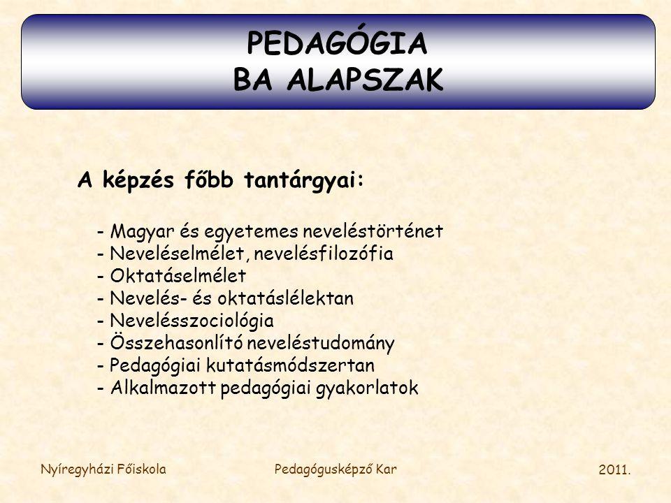 2011. Nyíregyházi FőiskolaPedagógusképző Kar A képzés főbb tantárgyai: - Magyar és egyetemes neveléstörténet - Neveléselmélet, nevelésfilozófia - Okta