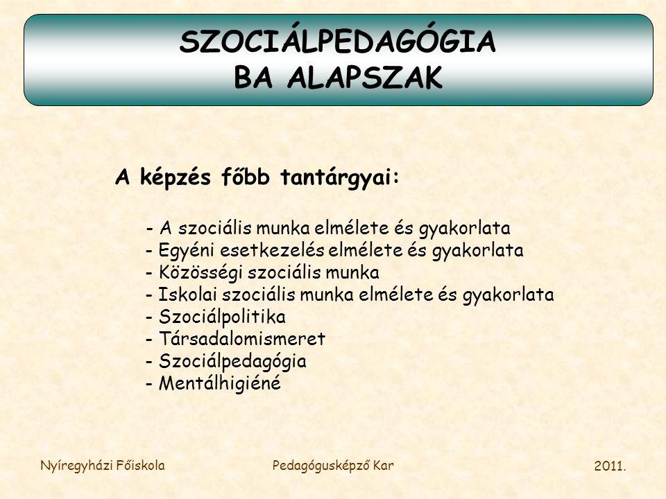 2011.Nyíregyházi FőiskolaPedagógusképző Kar Kiket várunk.