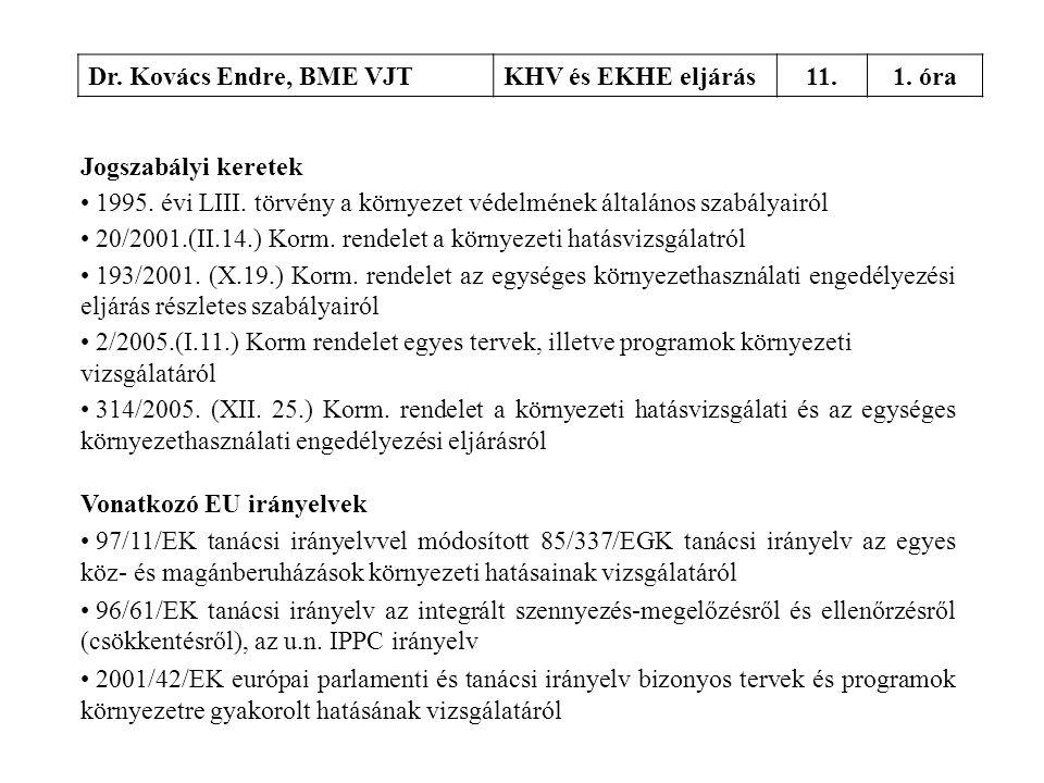Dr. Kovács Endre, BME VJTKHV és EKHE eljárás11.1. óra Jogszabályi keretek • 1995. évi LIII. törvény a környezet védelmének általános szabályairól • 20
