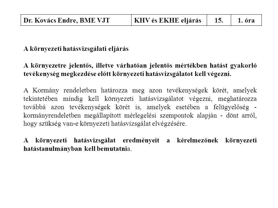 Dr. Kovács Endre, BME VJTKHV és EKHE eljárás15.1. óra A környezeti hatásvizsgálati eljárás A környezetre jelentős, illetve várhatóan jelentős mértékbe