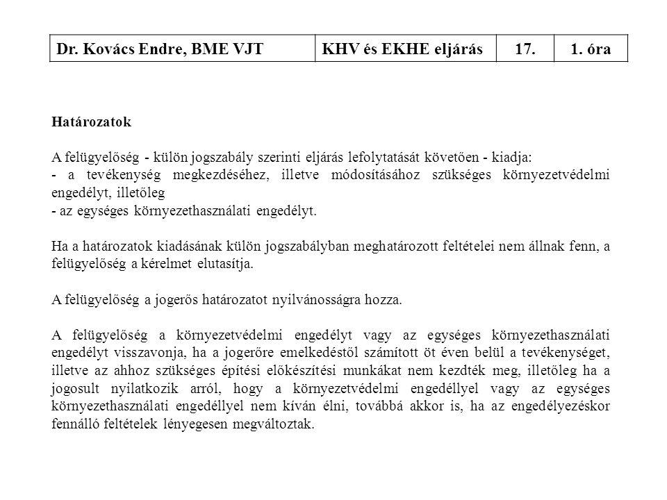 Dr. Kovács Endre, BME VJTKHV és EKHE eljárás17.1. óra Határozatok A felügyelőség - külön jogszabály szerinti eljárás lefolytatását követően - kiadja: