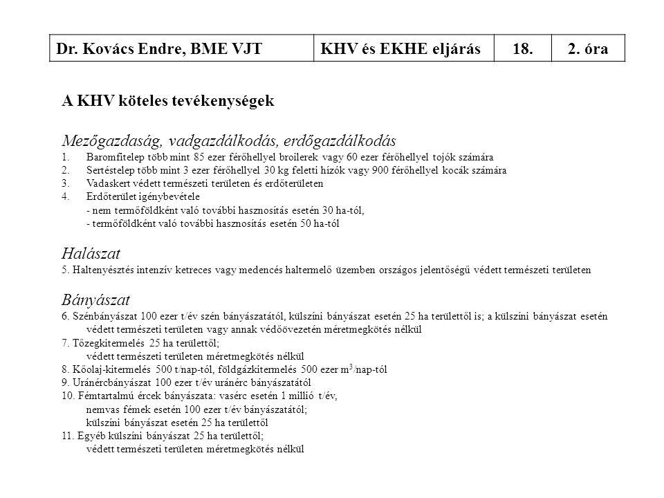 Dr. Kovács Endre, BME VJTKHV és EKHE eljárás18.2. óra A KHV köteles tevékenységek Mezőgazdaság, vadgazdálkodás, erdőgazdálkodás 1.Baromfitelep több mi
