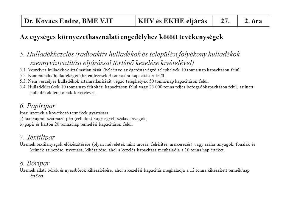 Dr. Kovács Endre, BME VJTKHV és EKHE eljárás27.2. óra Az egységes környezethasználati engedélyhez kötött tevékenységek 5. Hulladékkezelés (radioaktív