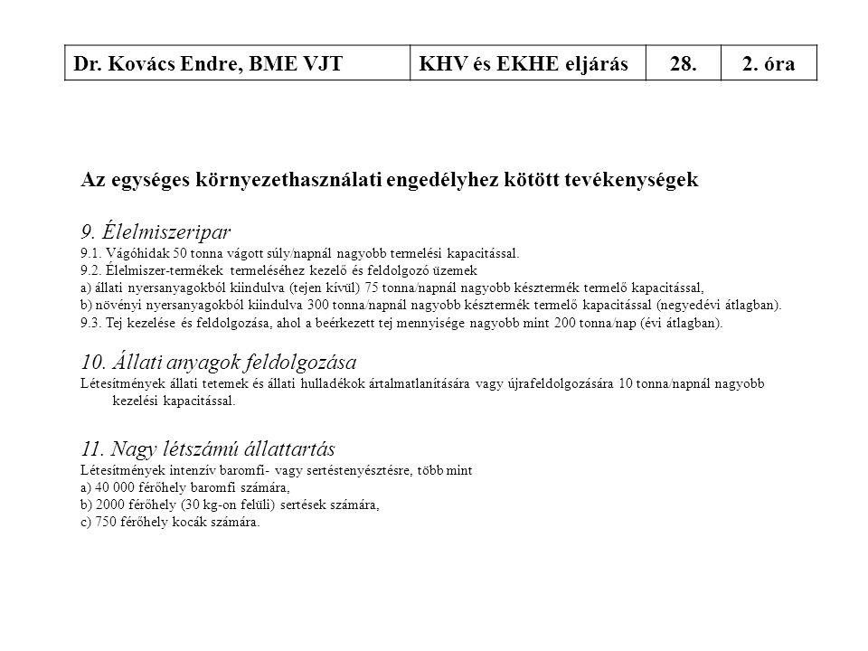 Dr. Kovács Endre, BME VJTKHV és EKHE eljárás28.2. óra Az egységes környezethasználati engedélyhez kötött tevékenységek 9. Élelmiszeripar 9.1. Vágóhida